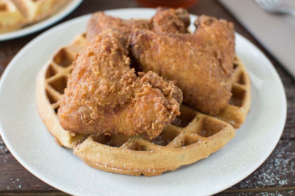 Buttermilk Fried Chicken and Buttermilk Peach Waffles