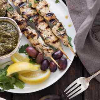 Greek Chicken Skewers With Pesto Sauce