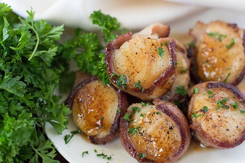 Bacon Wrapped Scallops with Bourbon Peach Glaze