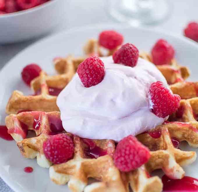 waffles with raspberry champagne mascarpone cream