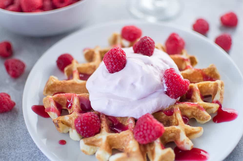 waffles with raspberry champagne mascarpone cream