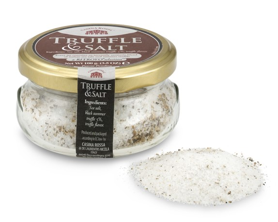 This is what truffle salt looks like... You can find it in specialty shops or in the specialty section of your grocery store... Worse case you can order it online...