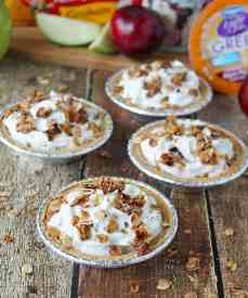 No Bake Apple Pear Plum Yogurt Crumble Pie