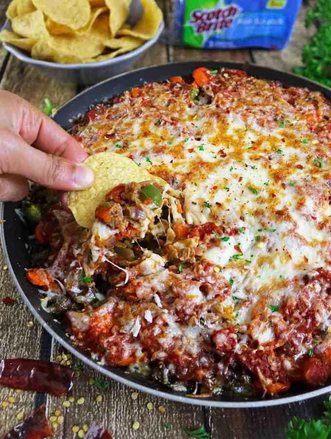 Cheesy Tomato Veggie Crumble Casserole