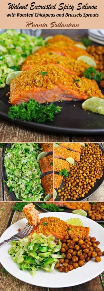 Walnut Encrusted Spicy Salmon with Roasted Chickpeas and Brussels Sprouts