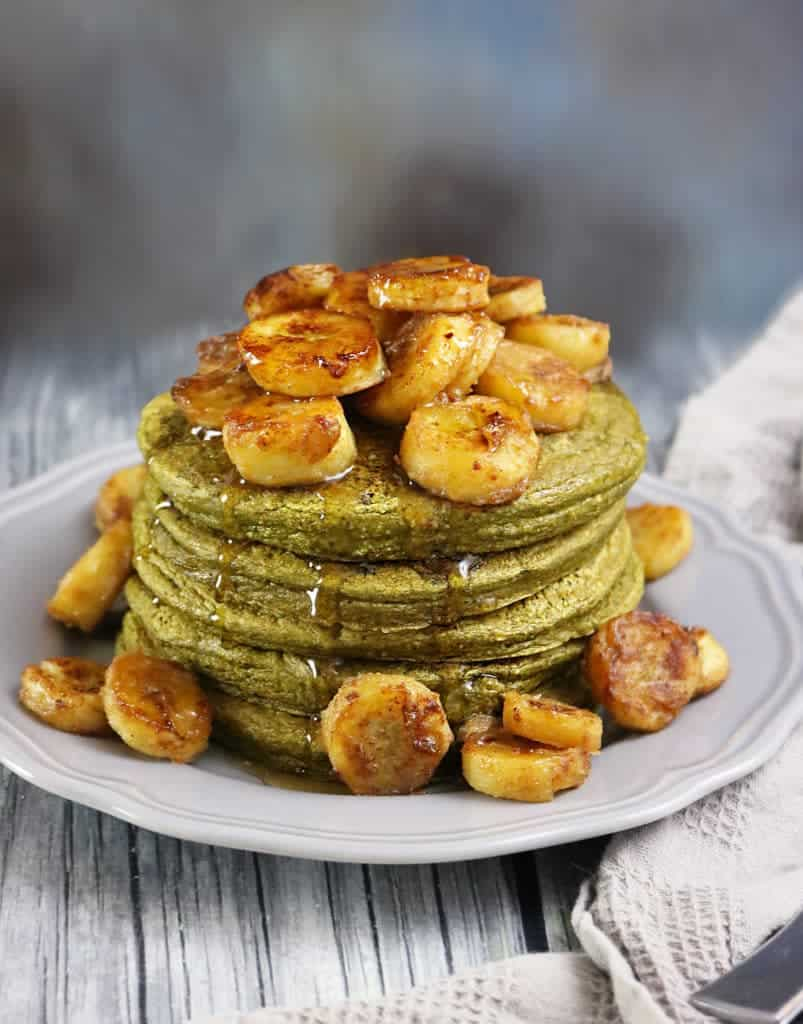 Banana Matcha Oatmeal Pancakes