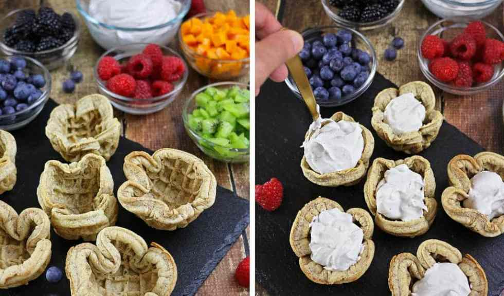 Fruity Waffle Cups with Vanilla Cardamom Coconut Cream