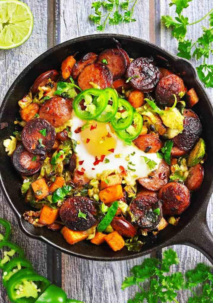 Easy Sausage Sweet Potato Sprouts Saute