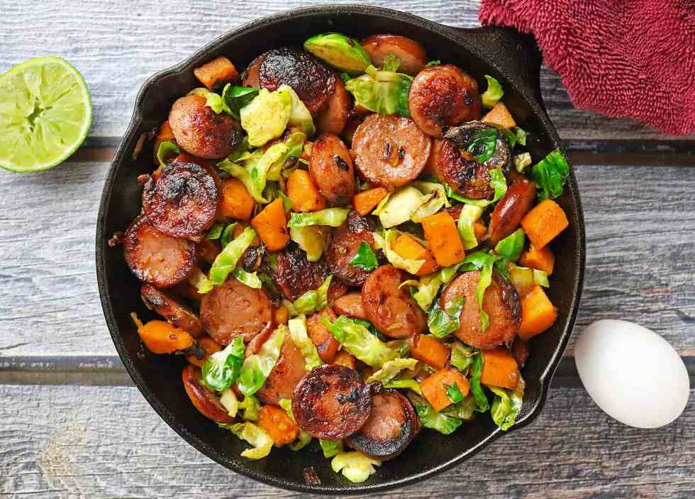 Eckrich Smoked Sausage Brussels Sprouts Sweet Potato Brunch