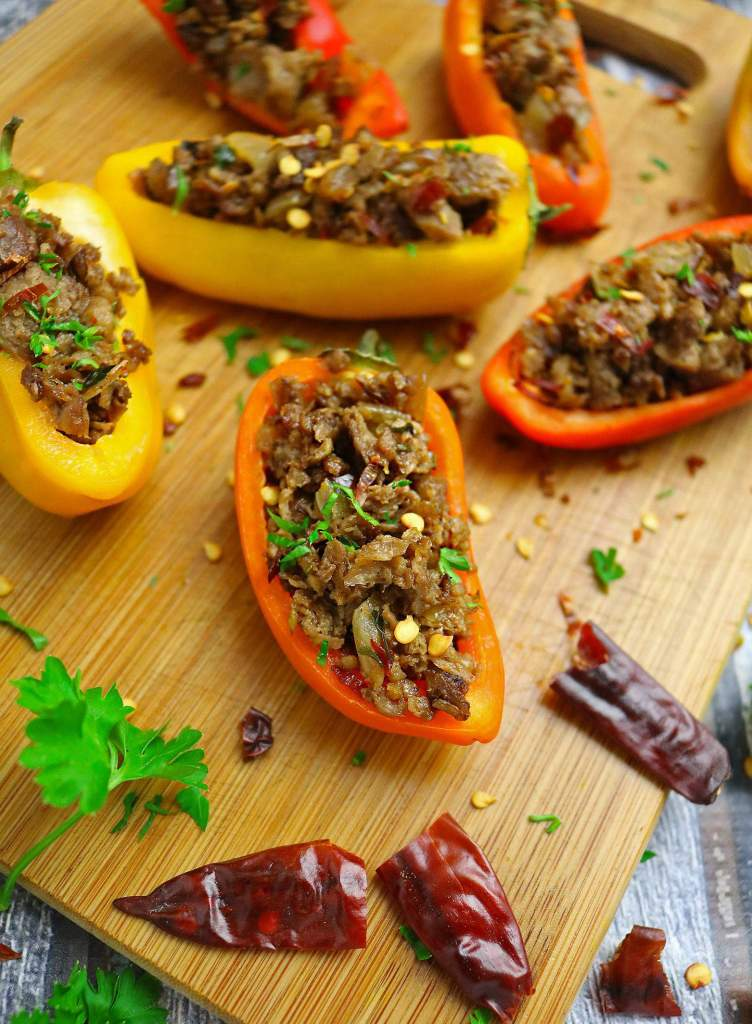 Spicy Vegetarian Grillers Stuffed Sweet Peppers