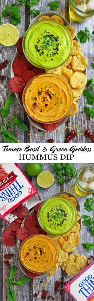 Tomato Basil Hummus Dip Green Goddess Hummus Dip #TrySomeTHINGood