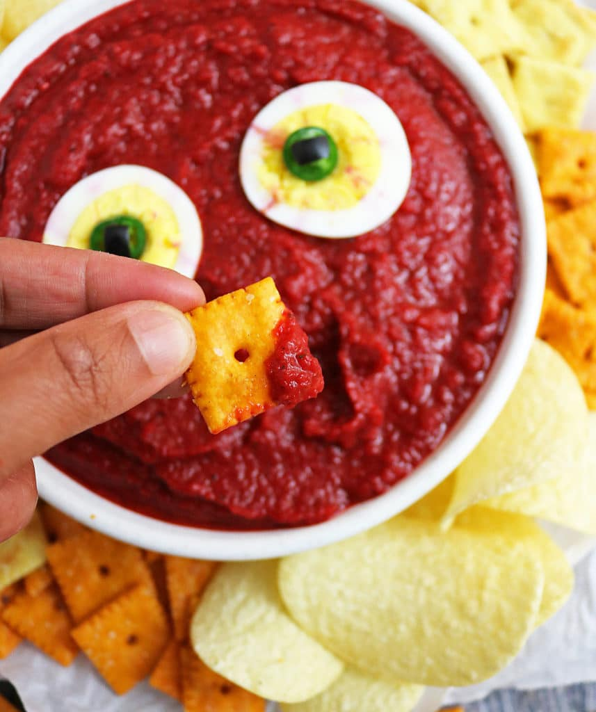 Bloody Mess Dip With Eyeballs