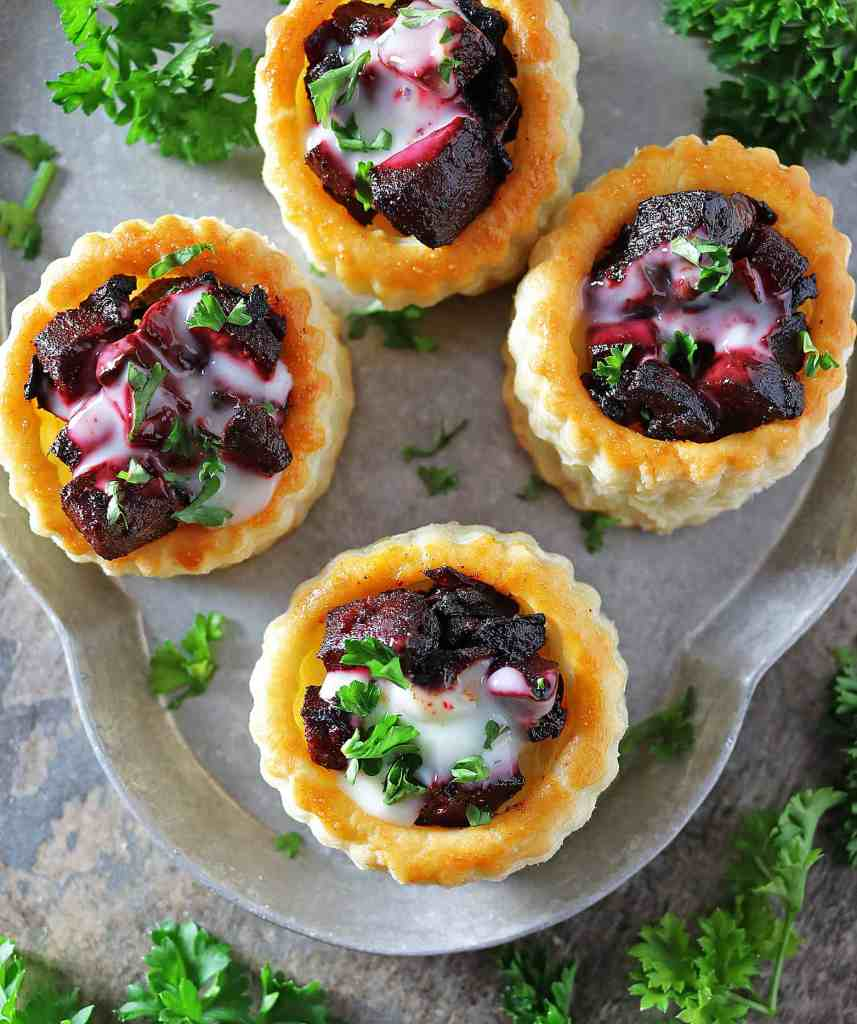 Easy Beet Goat Cheese Puff Pastry Stacks