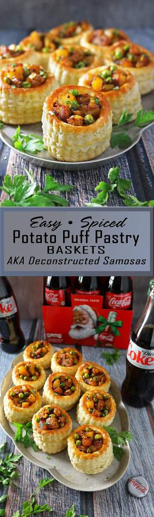Easy Spiced Potato Puff Pastry Baskets #ServeWithACoke