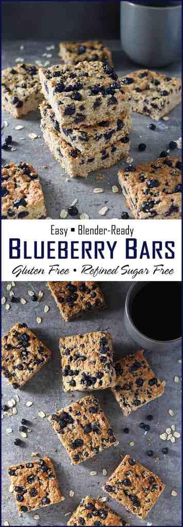 Easy Blender Ready Gluten Free Refined Sugar Free Blueberry Bars
