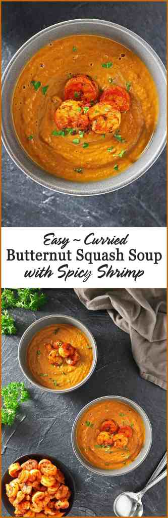 Easy Curried Butternut Squash Soup With Spicy Shrimp