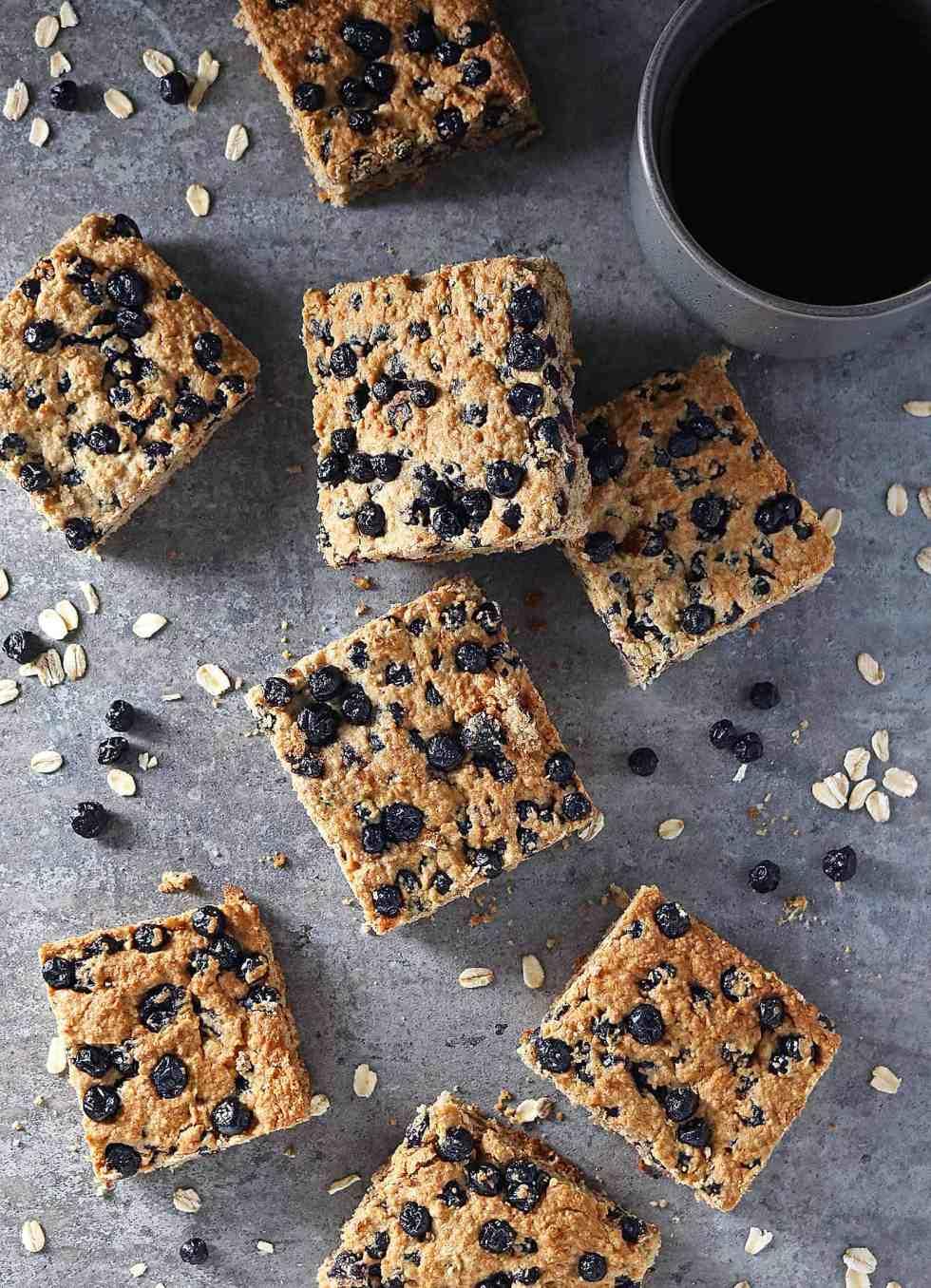Easy Gluten Free Refined Sugar Free Blueberry Bars