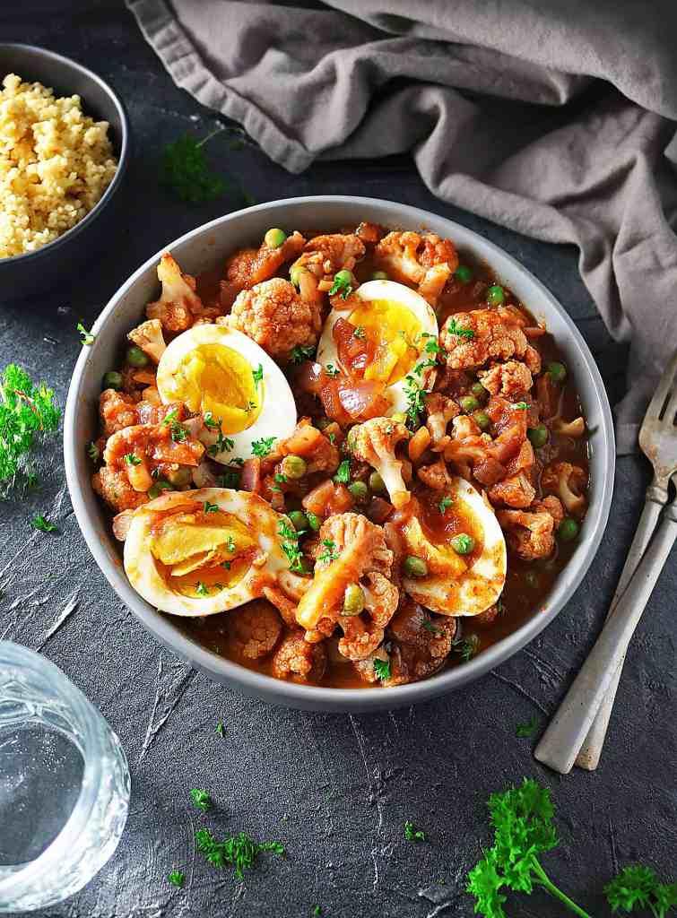 Easy Chipotle Raspberry Cauliflower Egg Curry