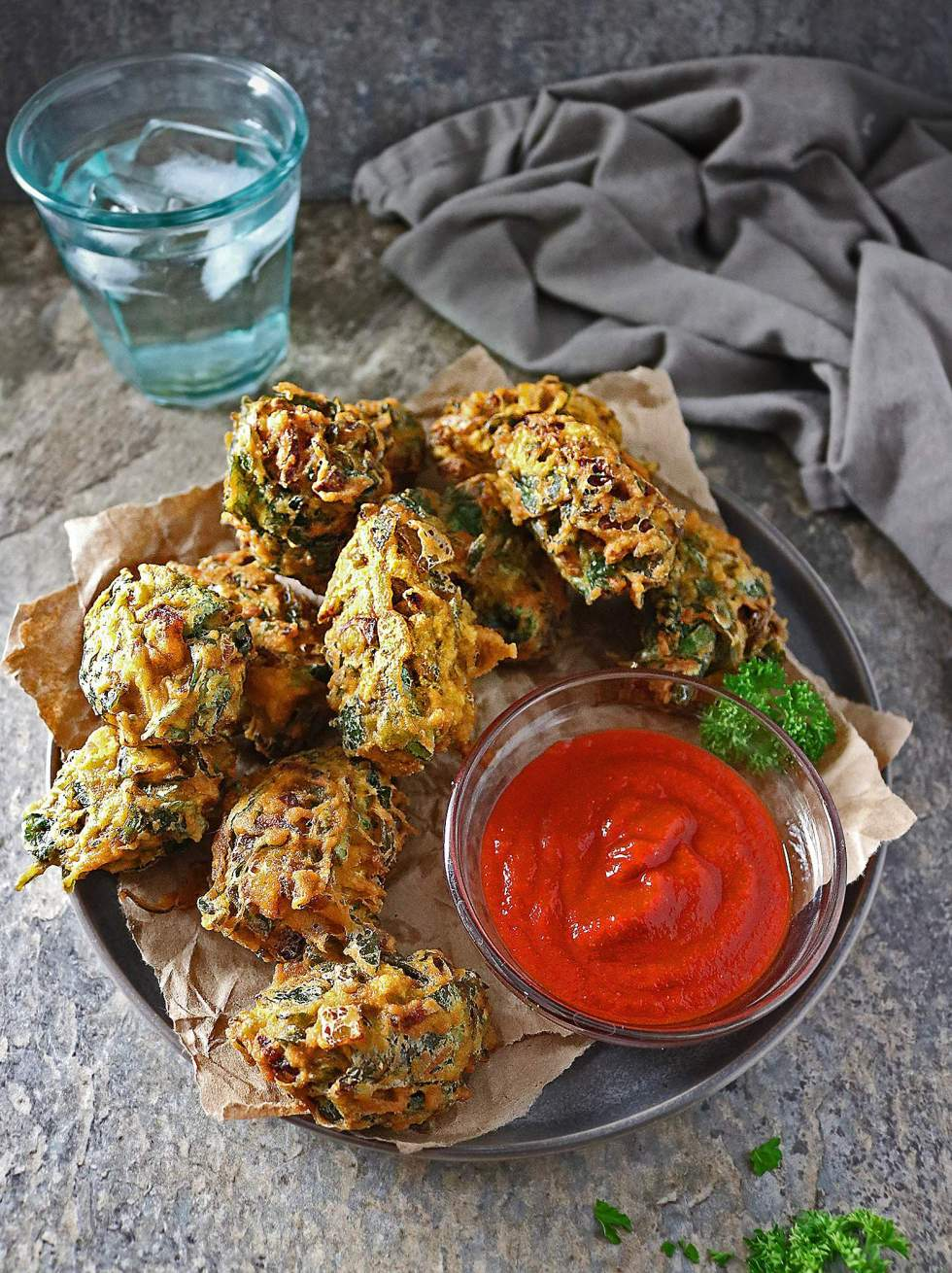 Spinach Fritters or Spinach Pakoras