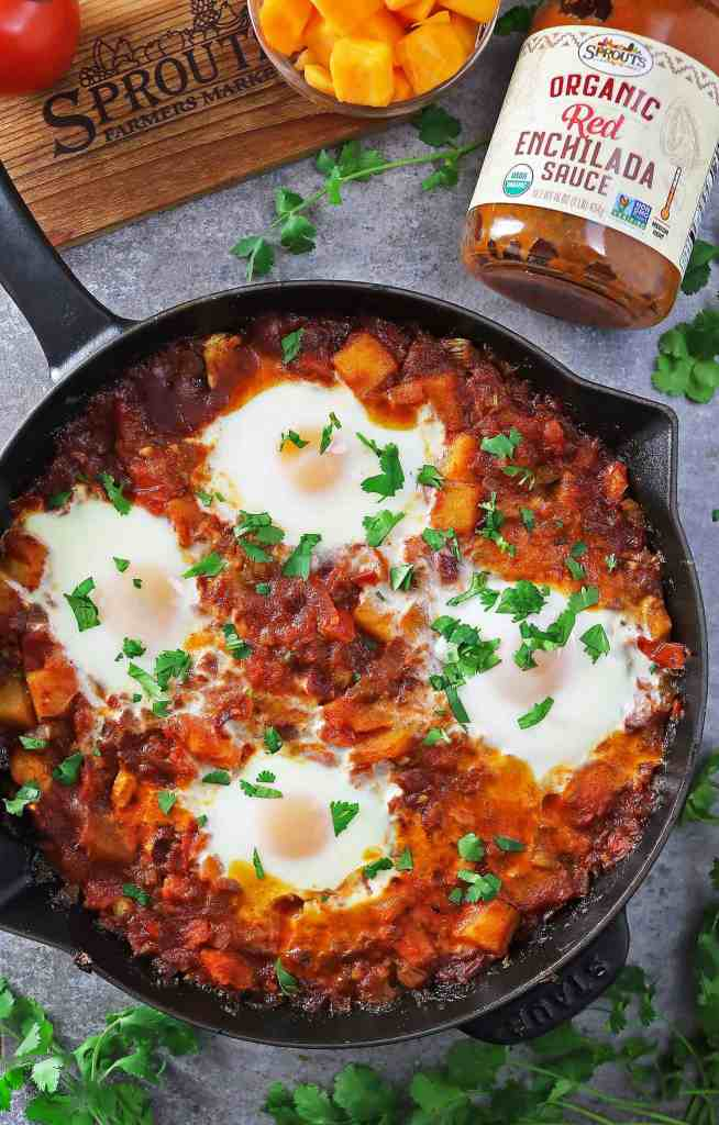 Butternut Squash Enchilada Shakshuka With Sprouts Red Enchilada Sauce