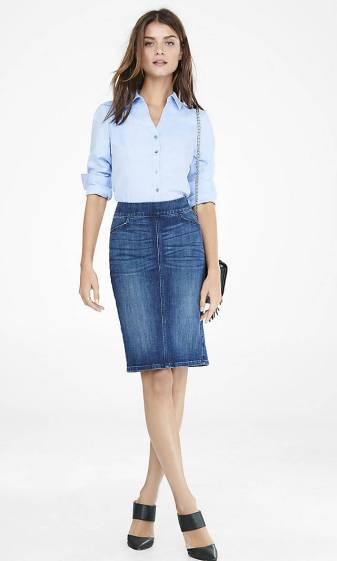 Express Model in Blue Twill Long Slv Essential Shirt