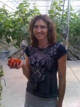 Hilda de Jonge in the greenhouse at Broxburn Vegetables