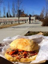 Picnicing in the park with my Sidewalk Sunnyside Sandwich - photo - Karen Anderson