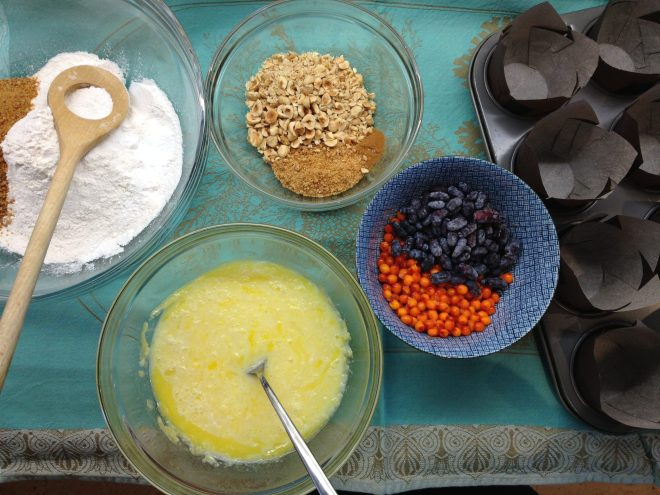 Prairie Fruit Muffins with Hazelnut Topping - showing all the ingredients