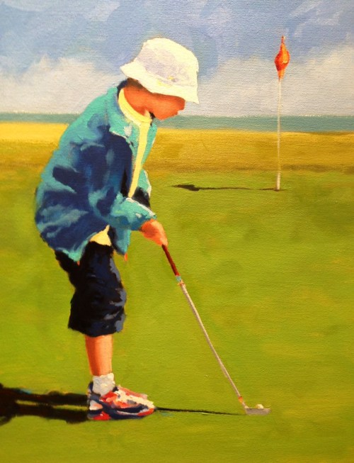 """This is how you putt"" Oil painting by Louise Savoie From the collection of Karen Anderson"