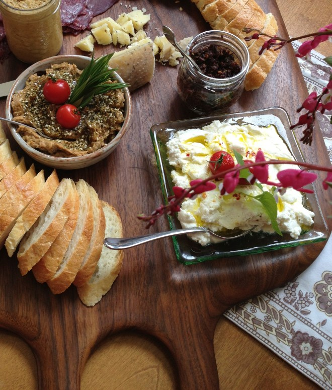 On Our Table's chef Cindy Lazarenko helped me put this platter together with a combo of homemade and purchased dips, spreads and charcuterie make entertaining a breeze photo - Karen Anderson