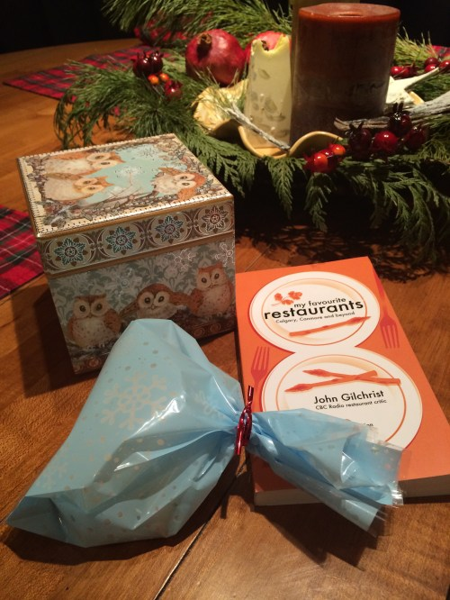 "A little box or bag of biscotti is a lovely gift to share and my friend John Gilchrist's ""My favourite restaurants - Calgary, Canmore and beyond"" book is also a fun gift because it gives people something to chew on all year. photo - Karen Anderson"