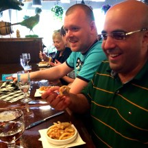 Norwegians noshing on their first poutine at Brasserie Kensington photo - Karen Anderson
