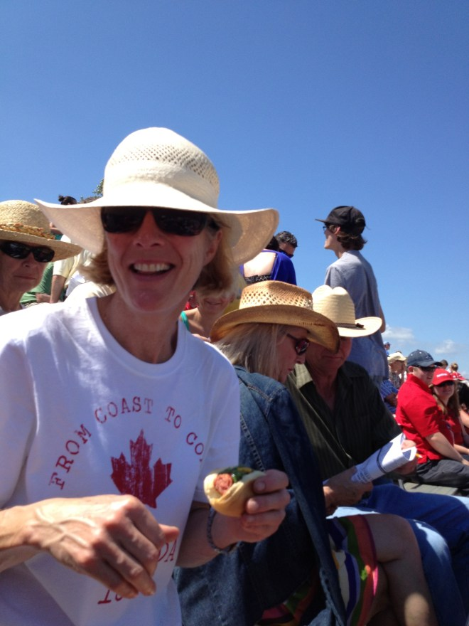 My friend Irene has great Canada Day spirit - photo - Karen Anderson