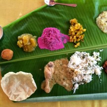 banana leaf thali - Chettinad - photo - Karen Anderson