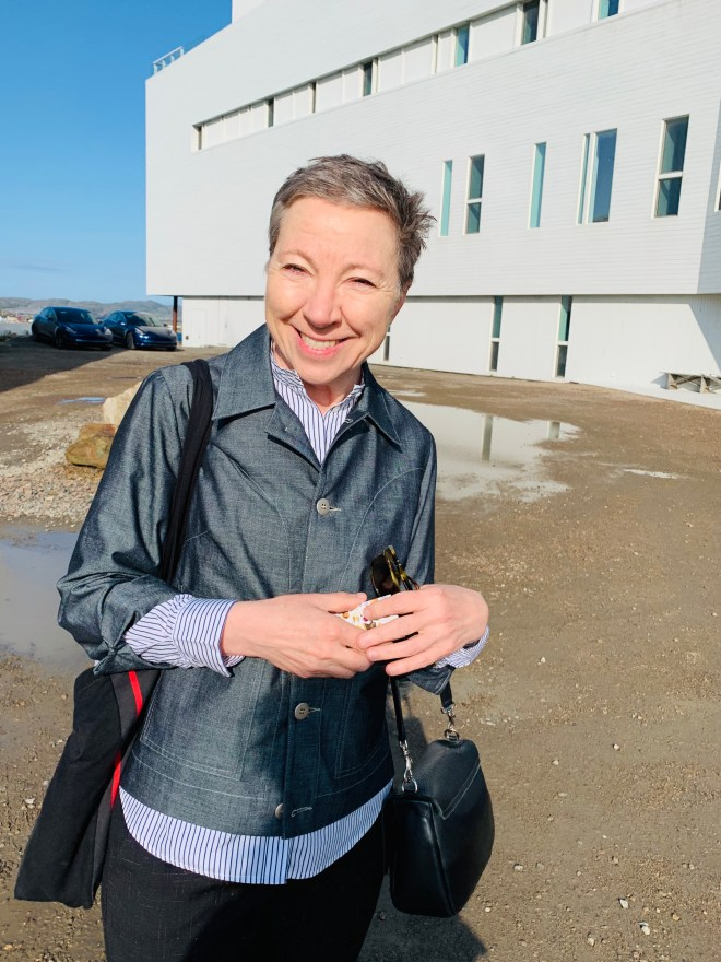 Zita Cobb in front of Fogo Island Inn