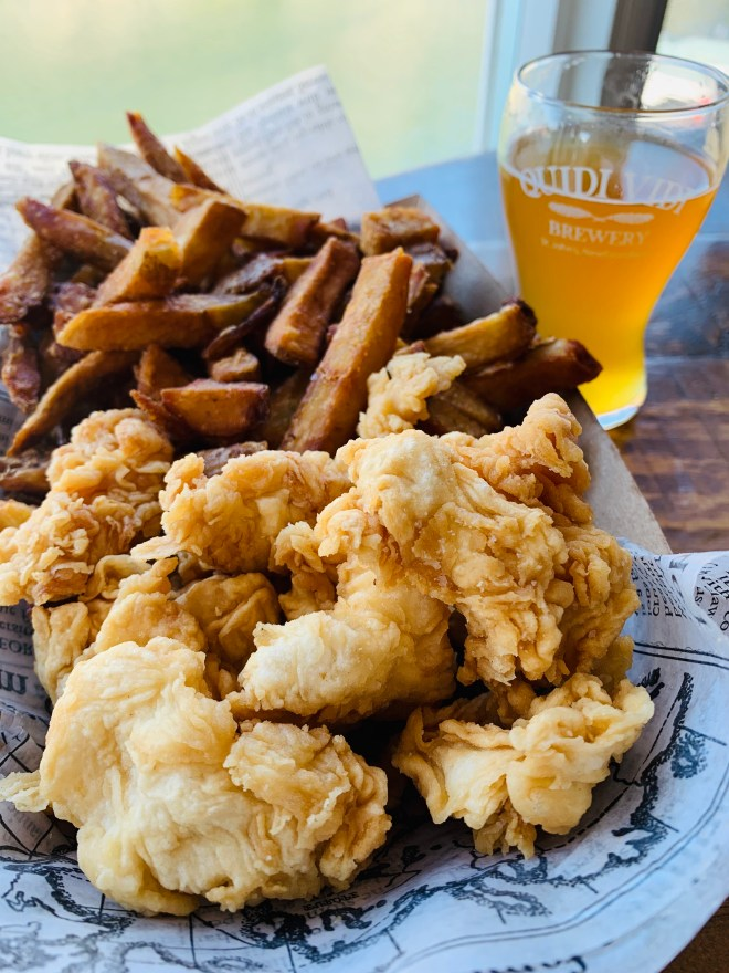 Cod bites and fries with beer at Quidi Vidi Brewery in NL - photo by Karen Anderson