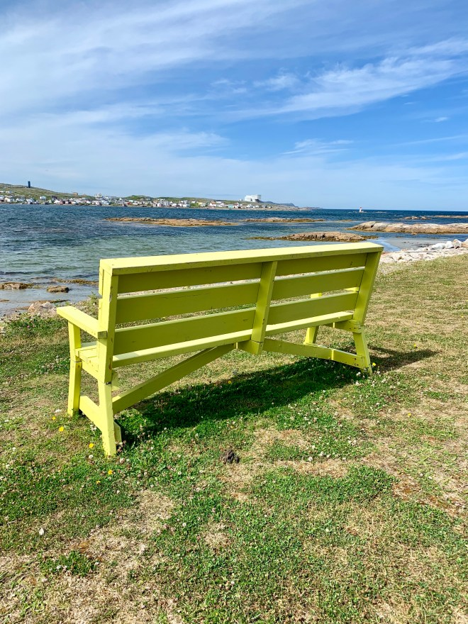 Yellow Bench looking at Fogo Island Inn, NL - Karen Anderson