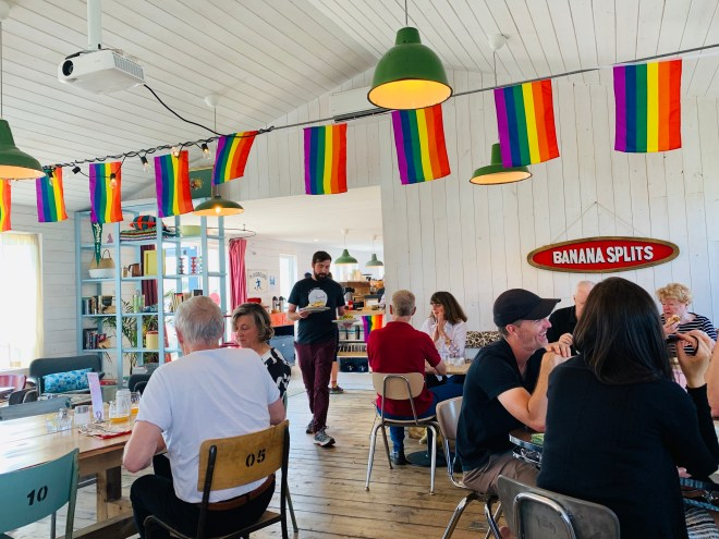 Colourful interior of Bang Belly Cafe, NL