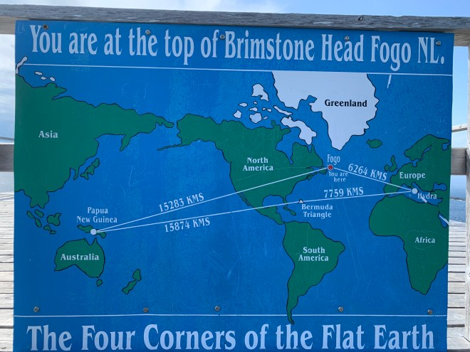 The Four Corners of the Flat Earth sign on Brimstone Head, NL