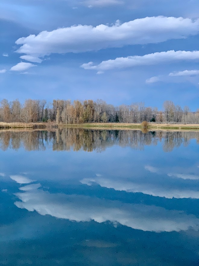 Sky reflected in a lake