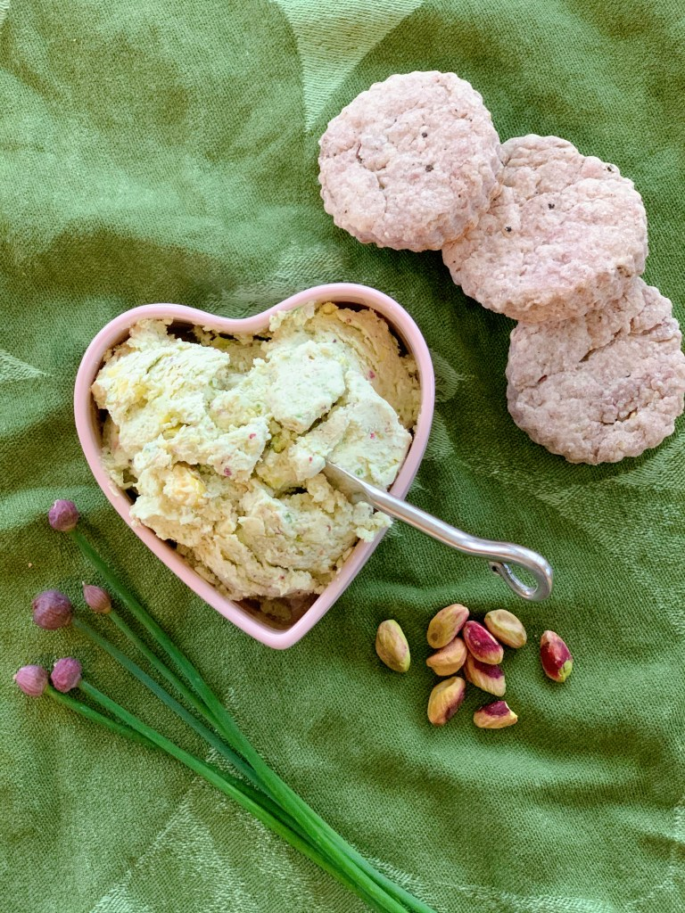 Pistachio and Chive Goat Cheese Spread with serving suggestion of Red Wine Biscuits