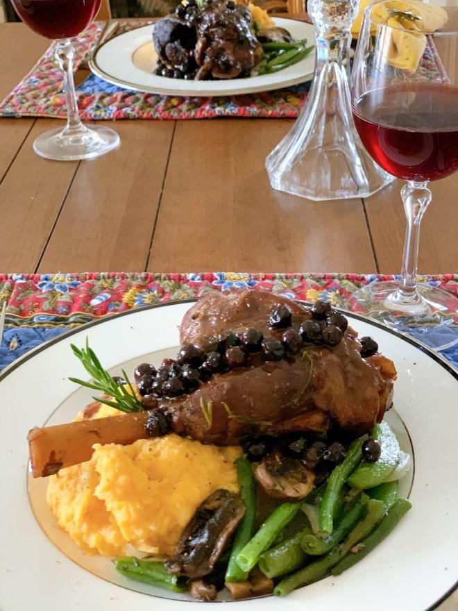 Lamb Shanks in Saskatoon Pinot Noir Sauce - angle view