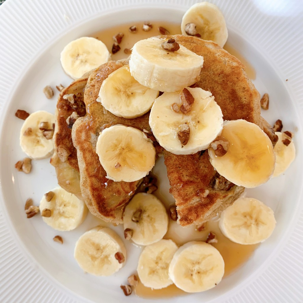 Fluffy Buttermilk Pancakes - overhead photo