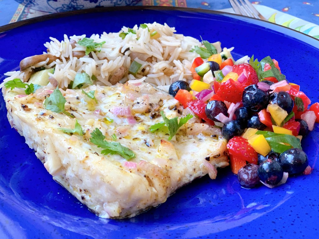 Citrus Grilled Fish with Triple Berry Salsa - close up