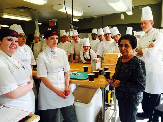 Noorbanu Nimji visiting SAIT Culinary School