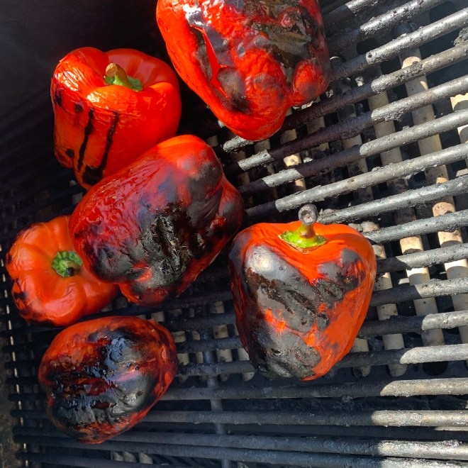 Charred Red Peppers - showing degree of doneness