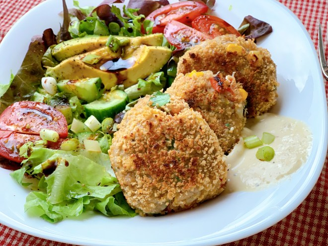 Summer Crab Cakes - angle view