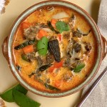 Red Curry Morel Chowder - overhead