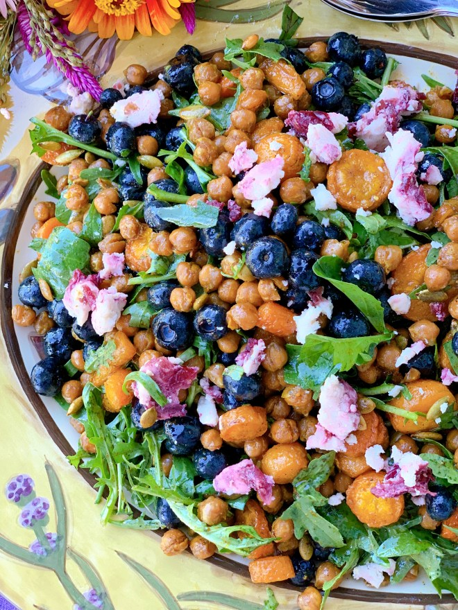 Roasted Chickpea and Carrot Salad with Fresh Blueberries - close up photo