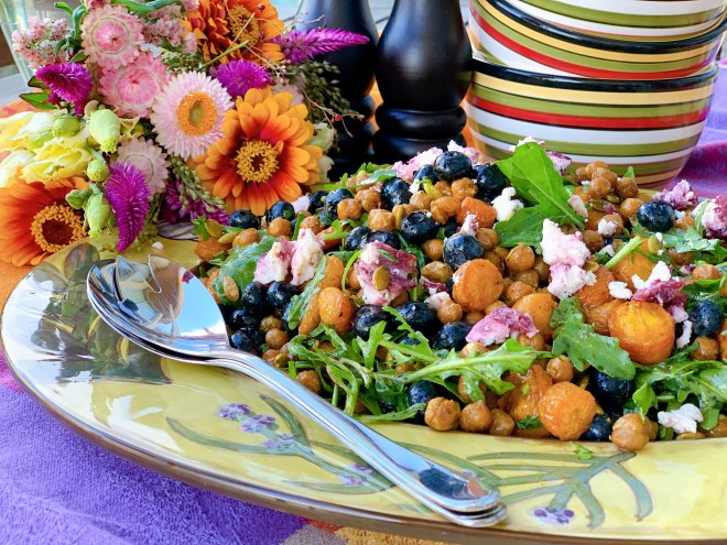 Roasted Chickpea and Carrot Salad with Fresh Blueberries - side view